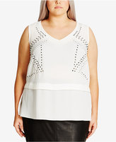 City Chic Trendy Plus Size Studded Top