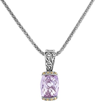 Artisan Crafted Sterling Pink Amethyst Enhancer w/ Chain