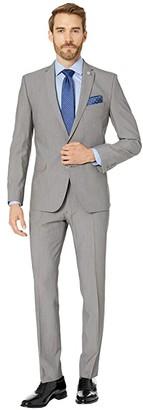 Nick Graham Sharkskin 32 Finished Bottoms Hem Suit (Grey) Men's Suits Sets
