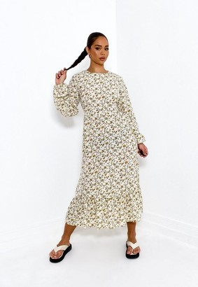 Missguided Cream Floral Satin Ruffle Hem Midi Smock Dress
