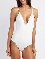 Charlotte Russe Lattice Back One-Piece Swimsuit