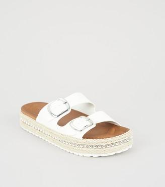 New Look Girls Stud Espadrille Footbed Sliders
