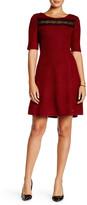 COCO & tashi 3/4 Sleeve Length Back Zip Dress