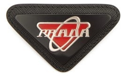 Prada Logo-plaque Leather Brooch - Black Red