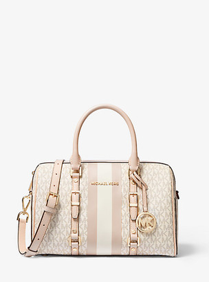 Michael Kors Bedford Travel Medium Logo Stripe Satchel