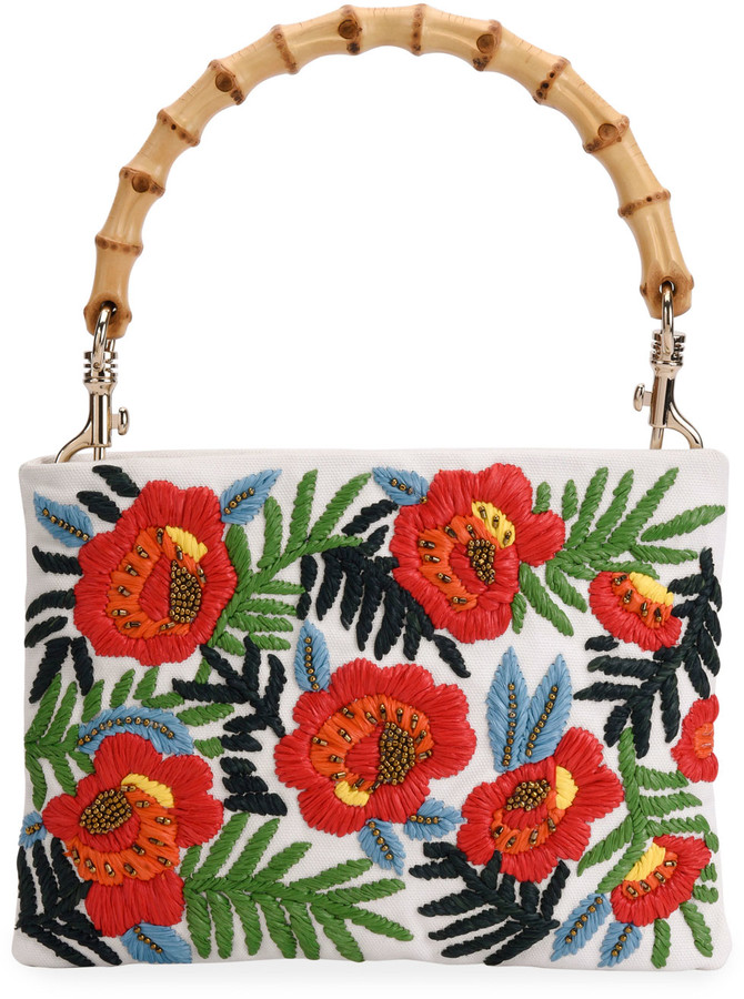 Miu Miu Embroidered Top-Handle Clutch Bag