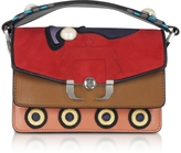 Paula Cademartori Twi Twi Leather and Suede Shoulder Bag w/Pearl