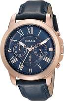 Fossil Men's FS4835 Grant Chronograph Leather Watch - Rose Gold-Tone and Blue