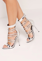 Missguided T Bar Strappy Gladiator Heels Silver