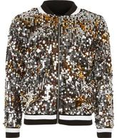 River Island Girls black disco sequin bomber jacket