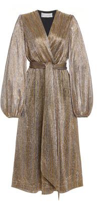 Rebecca Vallance Rivero Belted LamA Dress