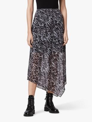 AllSaints Rhea Ambient Abstract Print Maxi Skirt, Grey