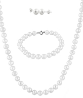 Bella Pearl White Pearl & Sterling Silver Necklace Set