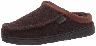 Dearfoams Women's Felted Microwool Moc Toe Clog with Faux Leather Trim Slipper