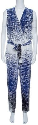 Diane von Furstenberg Multicolor Printed Silk Belted Kawena Jumpsuit M