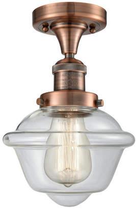 "clear Innovations Lighting 1-Light Oxford 11"" Semi-Flush Mount, Black Antique Brass, Glass"