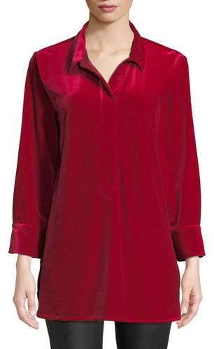 Joan Vass 3/4-Sleeve Side-Slit Relaxed Velvet Tunic Shirt, Petite