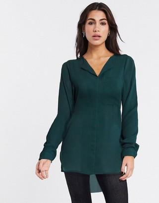 Selected nella long sleeve shirt in dark green