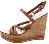 Miu Miu Leather Platform Wedge Sandals