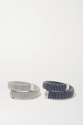 Carolina Bucci Caro Set Of Two White Gold-plated And Cotton Bracelets - Silver