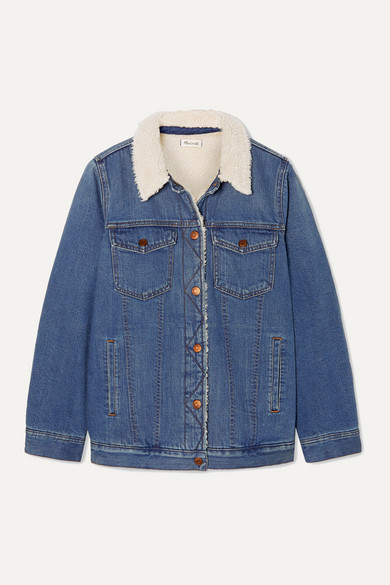 Madewell - Faux Shearling-trimmed Denim Jacket - Mid denim