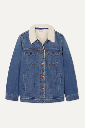 Madewell Faux Shearling-trimmed Denim Jacket - Mid denim