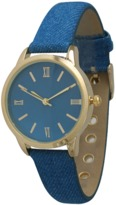 Olivia Pratt Denim Leather Band Watch.