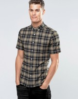 Asos Skinny Shirt With Mid Scale Check In Camel With Short Sleeves