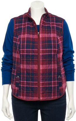 Croft & Barrow Plus Size Woven Quilted Vest