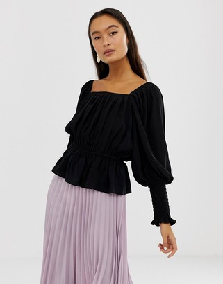 ASOS DESIGN long sleeve square neck top with shirred sleeve detail