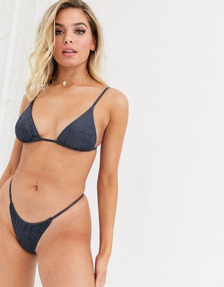Twiin Mariah micro triangle bikini top in navy glitter
