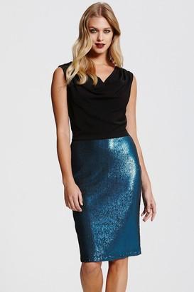 Paper Dolls Black Cowl Neck Sequin Skirt Dress