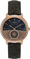 GUESS Women's Black Glitter Leather Strap Watch 40mm