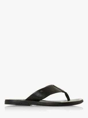 Dune Fredss Toe Post Leather Sandals, Black