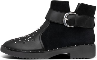FitFlop Athena Flower-Stud Suede/Leather Ankle Boots