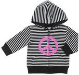 amy coe Striped Hooded Peace Sign Jacket - Black & White (3-6 Months)