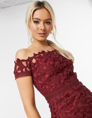 Chi Chi London lace bardot pencil dress in burgundy
