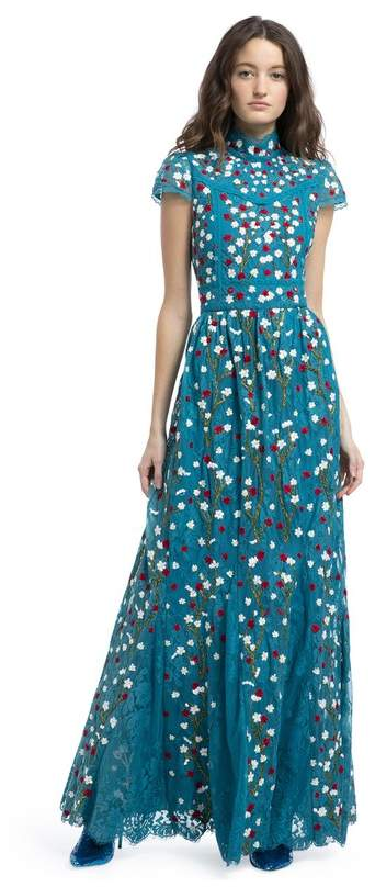 Alice + Olivia Arwen Embroidered Gown