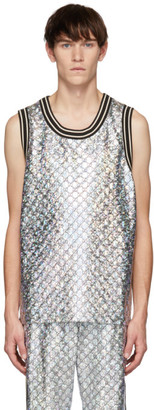 Gucci Black and Silver GG Printed Tank Top