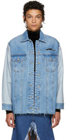 Sjyp Blue Long Washed Denim Jacket