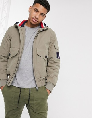 Tommy Hilfiger icon patch pocket bomber jacket in stone