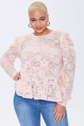 Forever 21 Plus Size Lace Flounce Top