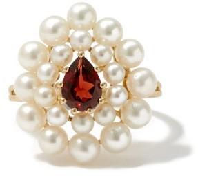 Anissa Kermiche Cotillon Pearl, Garnet & Gold Ring - Pearl