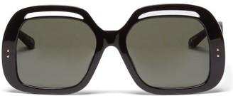 Linda Farrow Renata Square Acetate Sunglasses - Black