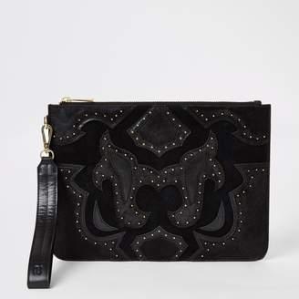 River Island Womens Black leather studded western clutch bag
