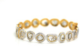 Tresor Collection - Raw organic diamond slice & colorless brilliant diamond (5.77 cts) bangle bracelet in 18k Yellow Gold