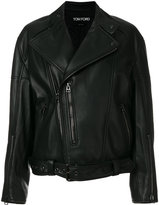 Tom Ford biker jacket - women - Silk/Lamb Skin/Polyester - XS