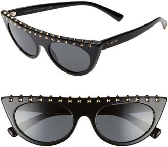 Valentino 52mm Rockstud Flat Top Sunglasses