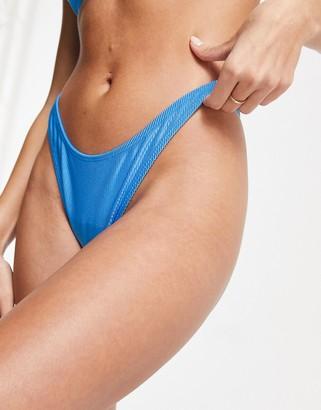 ASOS DESIGN mix and match mirror satin rib thong bikini bottom in cobalt blue