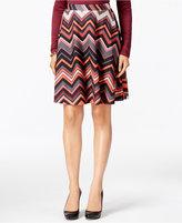ECI Chevron-Print Textured A-Line Skirt